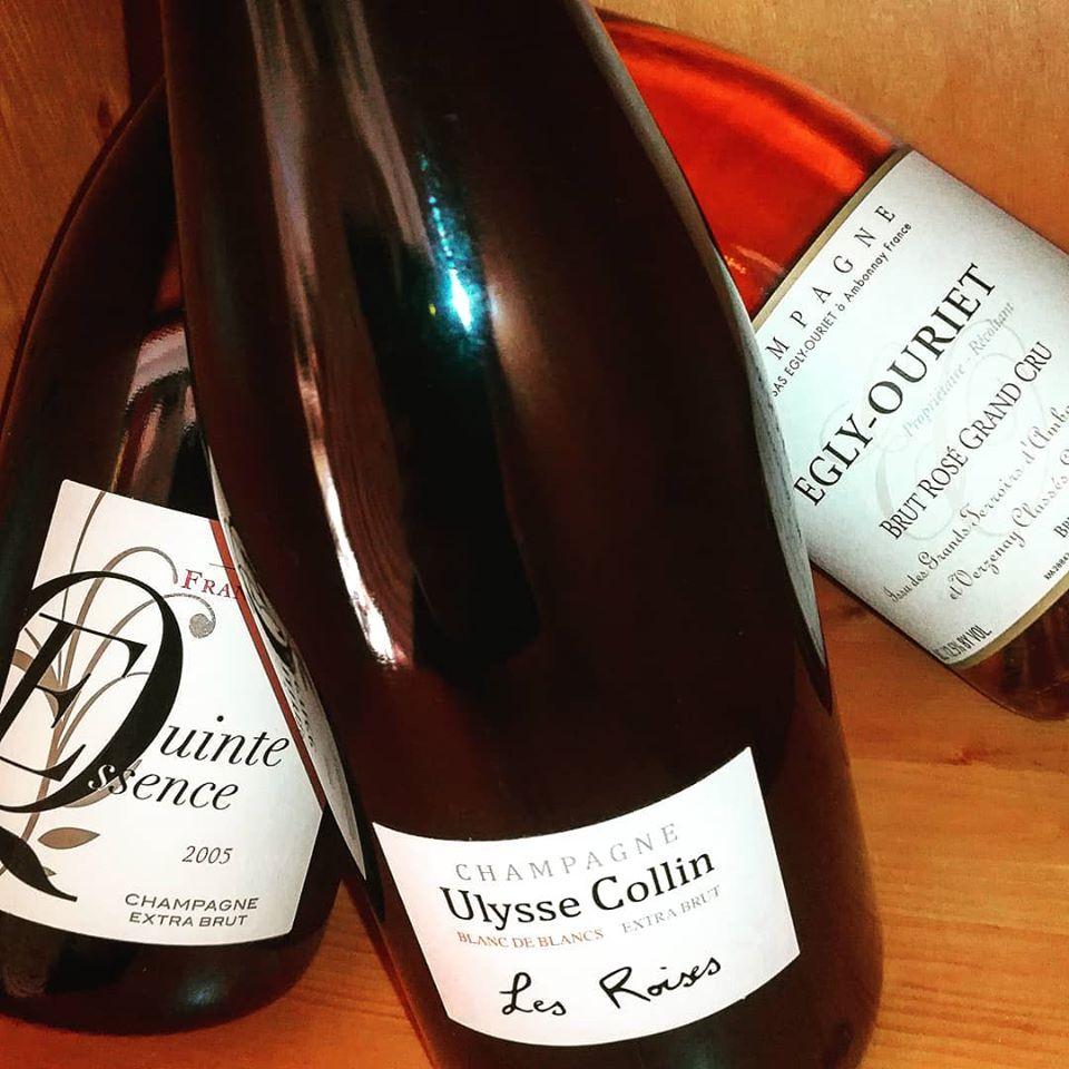 Champagne Les Roises Ulysse Collin, Egly-Ouriet Rosé e Qinte Essence Frank Pascal